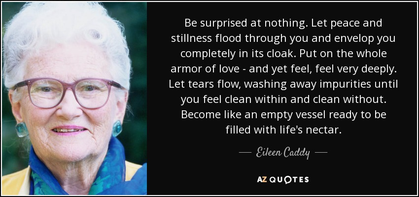 Be surprised at nothing. Let peace and stillness flood through you and envelop you completely in its cloak. Put on the whole armor of love - and yet feel, feel very deeply. Let tears flow, washing away impurities until you feel clean within and clean without. Become like an empty vessel ready to be filled with life's nectar. - Eileen Caddy