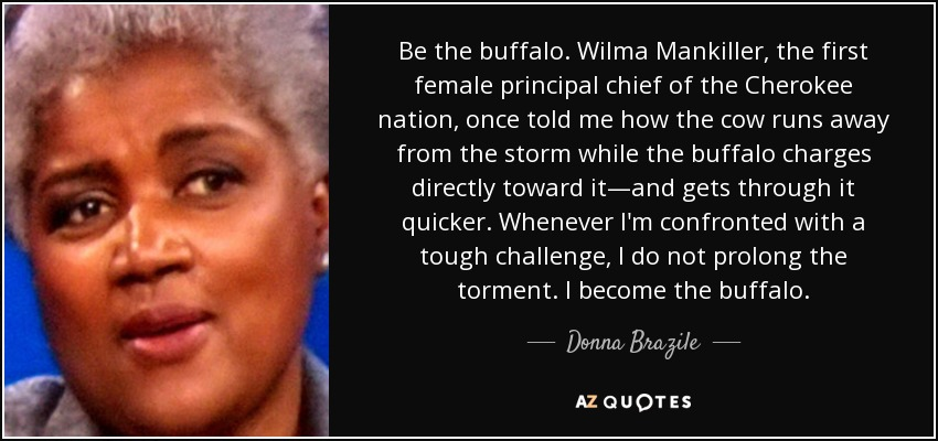 Be the buffalo. Wilma Mankiller, the first female principal chief of the Cherokee nation, once told me how the cow runs away from the storm while the buffalo charges directly toward it—and gets through it quicker. Whenever I'm confronted with a tough challenge, I do not prolong the torment. I become the buffalo. - Donna Brazile