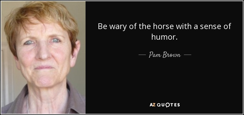 Be wary of the horse with a sense of humor. - Pam Brown
