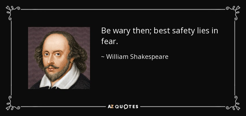 Be wary then; best safety lies in fear. - William Shakespeare