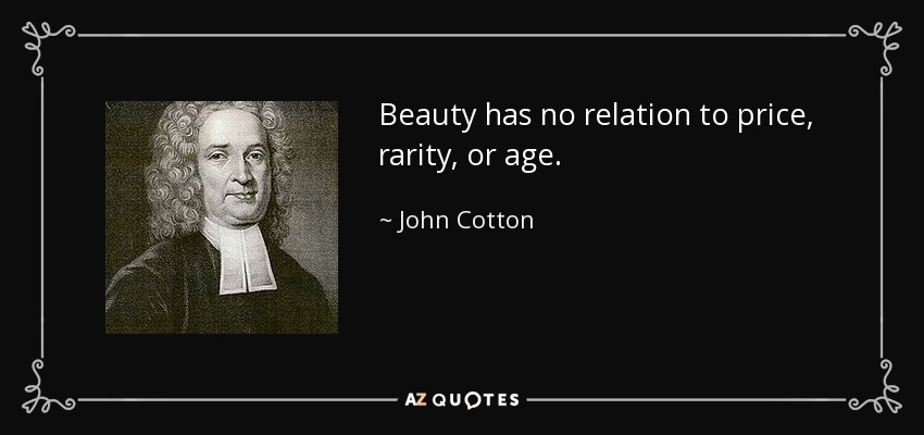 Beauty has no relation to price, rarity, or age. - John Cotton