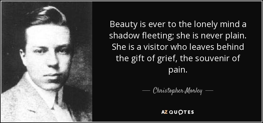 Beauty is ever to the lonely mind a shadow fleeting; she is never plain. She is a visitor who leaves behind the gift of grief, the souvenir of pain. - Christopher Morley