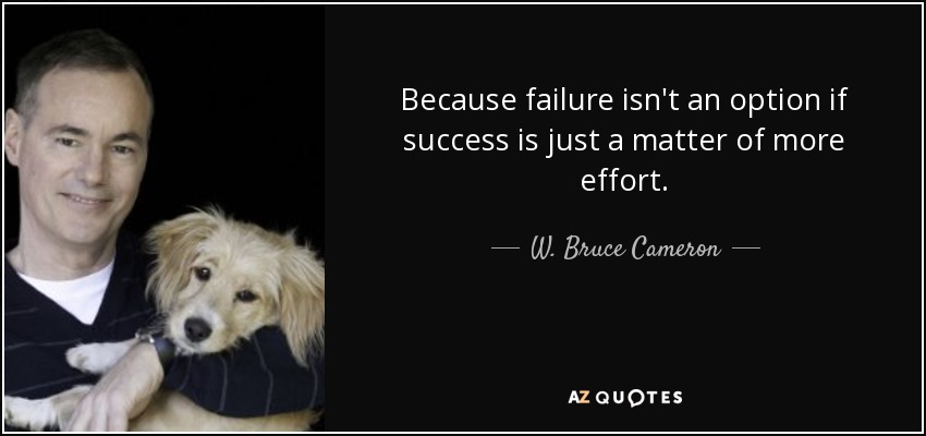 Because failure isn't an option if success is just a matter of more effort. - W. Bruce Cameron