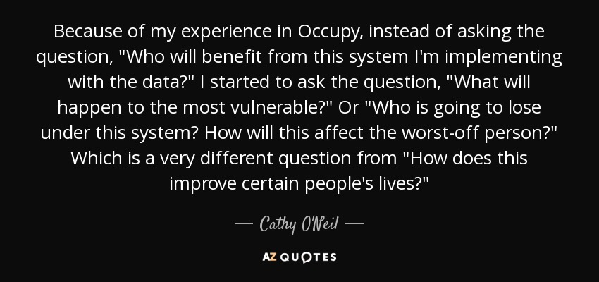 Because of my experience in Occupy, instead of asking the question,