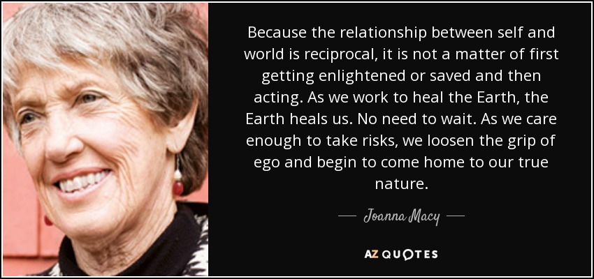 Because the relationship between self and world is reciprocal, it is not a matter of first getting enlightened or saved and then acting. As we work to heal the Earth, the Earth heals us. No need to wait. As we care enough to take risks, we loosen the grip of ego and begin to come home to our true nature. - Joanna Macy