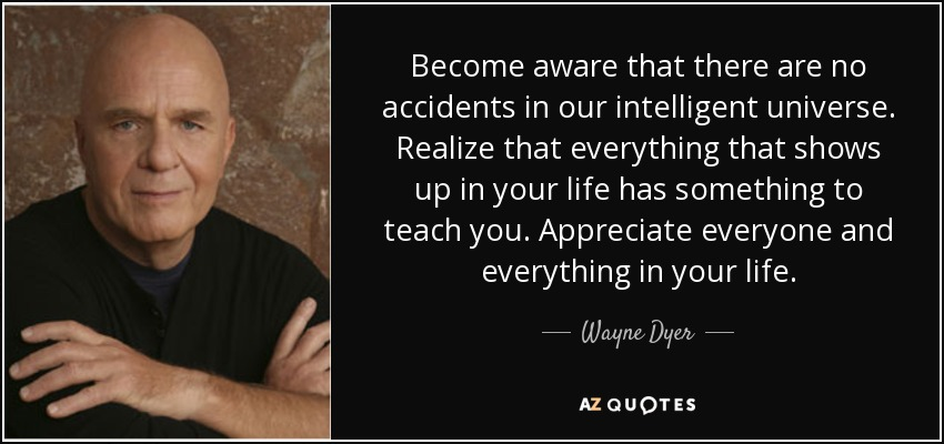 Become aware that there are no accidents in our intelligent universe. Realize that everything that shows up in your life has something to teach you. Appreciate everyone and everything in your life. - Wayne Dyer