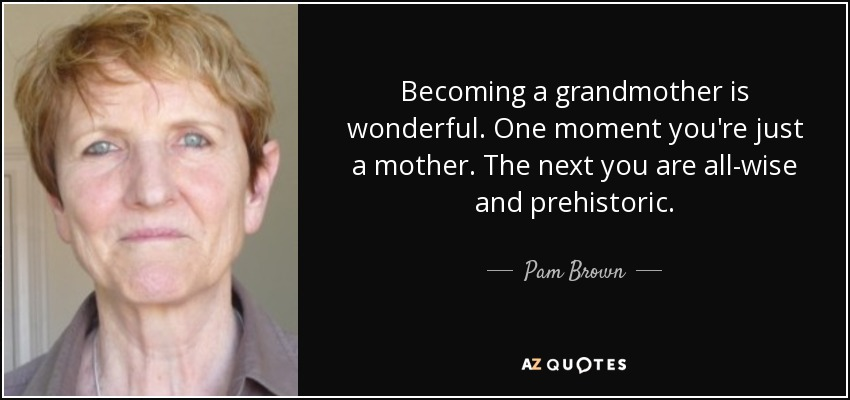 Becoming a grandmother is wonderful. One moment you're just a mother. The next you are all-wise and prehistoric. - Pam Brown
