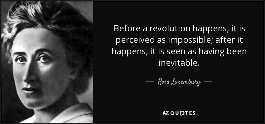 Before a revolution happens, it is perceived as impossible; after it happens, it is seen as having been inevitable. - Rosa Luxemburg