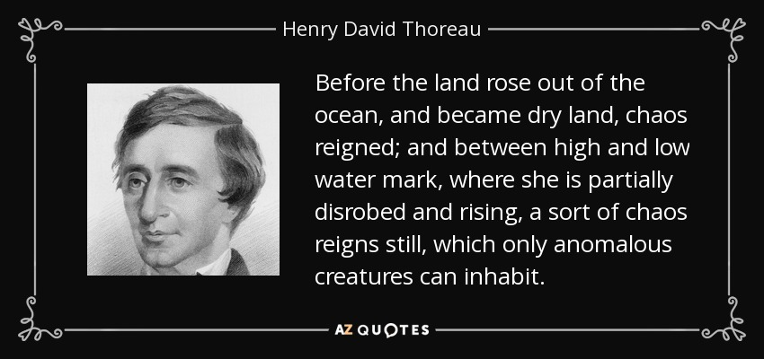 Before the land rose out of the ocean, and became dry land, chaos reigned; and between high and low water mark, where she is partially disrobed and rising, a sort of chaos reigns still, which only anomalous creatures can inhabit. - Henry David Thoreau