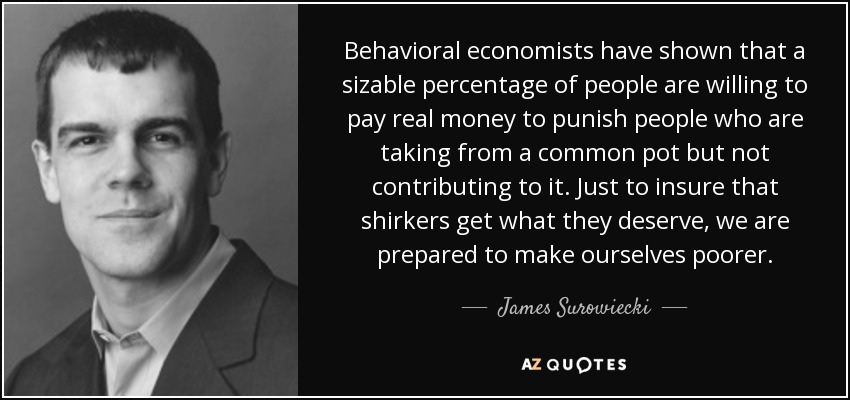 Behavioral economists have shown that a sizable percentage of people are willing to pay real money to punish people who are taking from a common pot but not contributing to it. Just to insure that shirkers get what they deserve, we are prepared to make ourselves poorer. - James Surowiecki