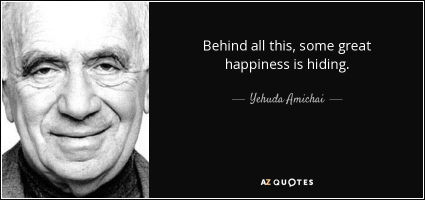 Behind all this, some great happiness is hiding. - Yehuda Amichai