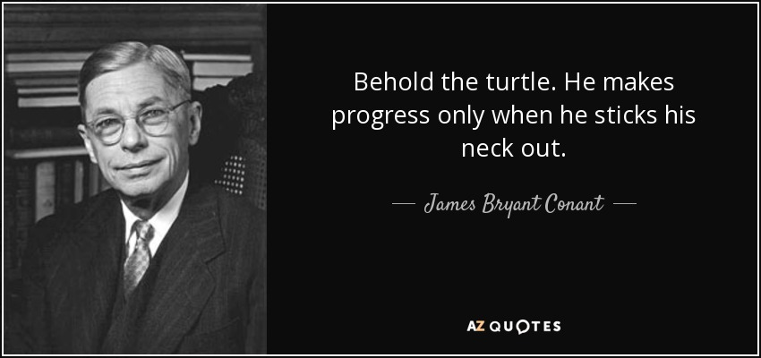 Behold the turtle. He makes progress only when he sticks his neck out. - James Bryant Conant