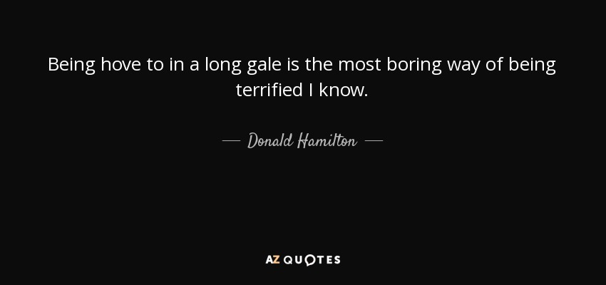 Being hove to in a long gale is the most boring way of being terrified I know. - Donald Hamilton