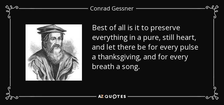 Best of all is it to preserve everything in a pure, still heart, and let there be for every pulse a thanksgiving, and for every breath a song. - Conrad Gessner
