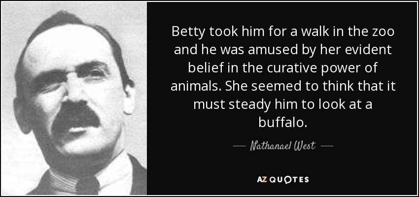 Betty took him for a walk in the zoo and he was amused by her evident belief in the curative power of animals. She seemed to think that it must steady him to look at a buffalo. - Nathanael West