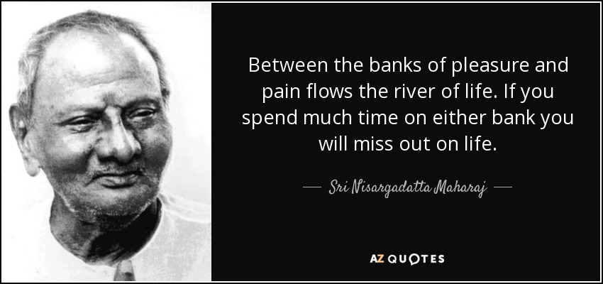 Between the banks of pleasure and pain flows the river of life. If you spend much time on either bank you will miss out on life. - Sri Nisargadatta Maharaj