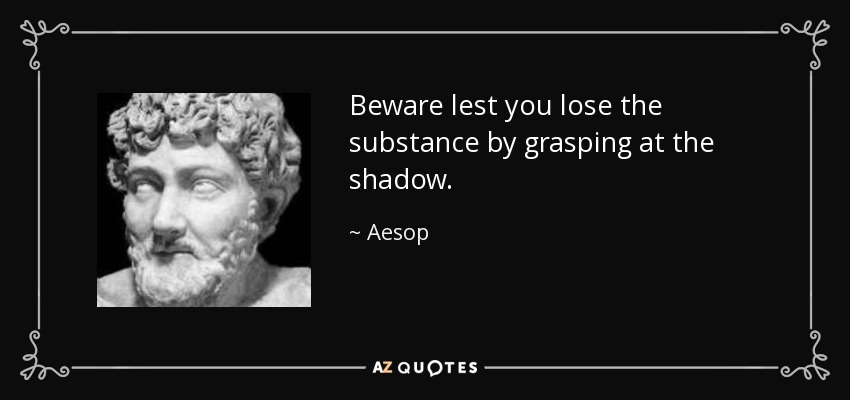 Beware lest you lose the substance by grasping at the shadow. - Aesop