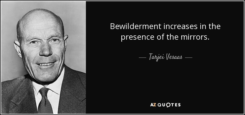 Bewilderment increases in the presence of the mirrors. - Tarjei Vesaas