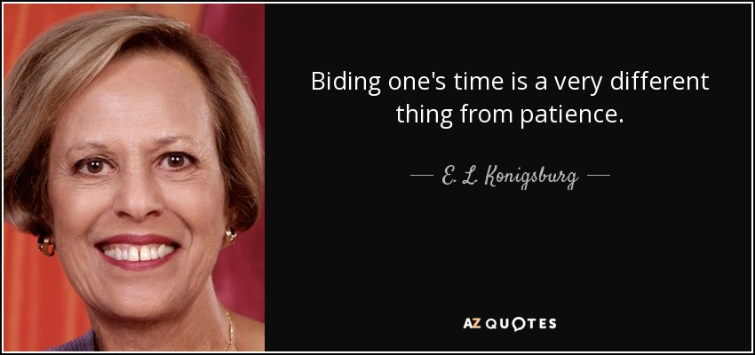 Biding one's time is a very different thing from patience. - E. L. Konigsburg