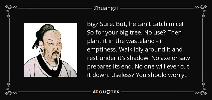 Big? Sure. But, he can't catch mice! So for your big tree. No use? Then plant it in the wasteland - in emptiness. Walk idly around it and rest under it's shadow. No axe or saw prepares its end. No one will ever cut it down. Useless? You should worry!. - Zhuangzi