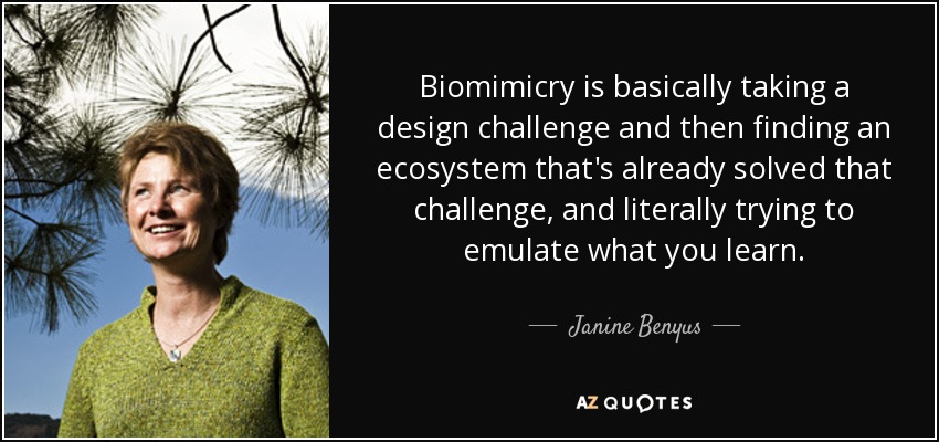 Biomimicry is basically taking a design challenge and then finding an ecosystem that's already solved that challenge, and literally trying to emulate what you learn. - Janine Benyus