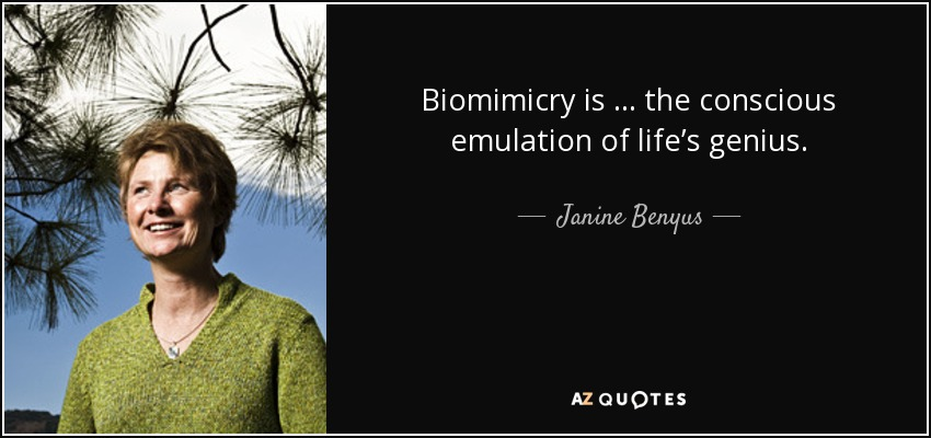 Biomimicry is … the conscious emulation of life's genius. - Janine Benyus