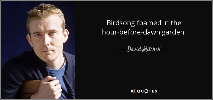 Birdsong foamed in the hour-before-dawn garden. - David Mitchell