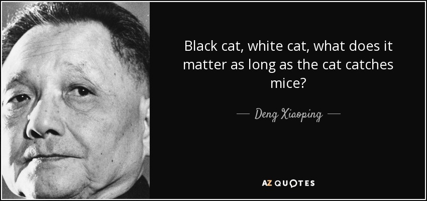Black cat, white cat, what does it matter as long as the cat catches mice? - Deng Xiaoping