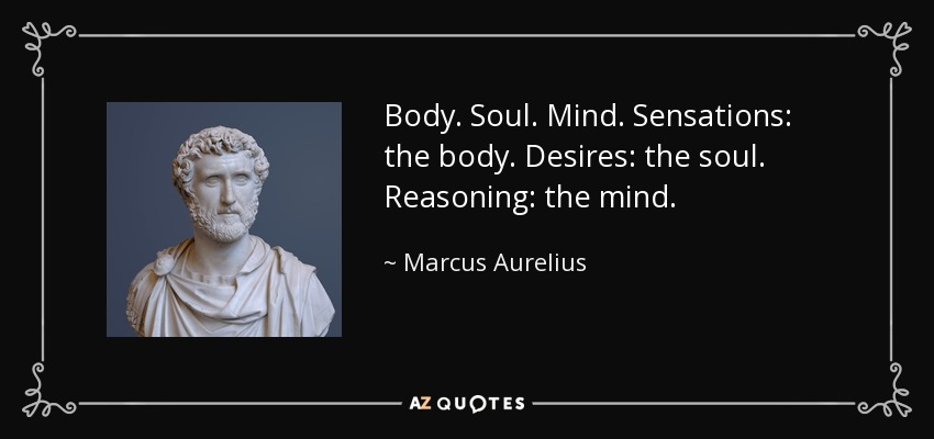 Body. Soul. Mind. Sensations: the body. Desires: the soul. Reasoning: the mind. - Marcus Aurelius