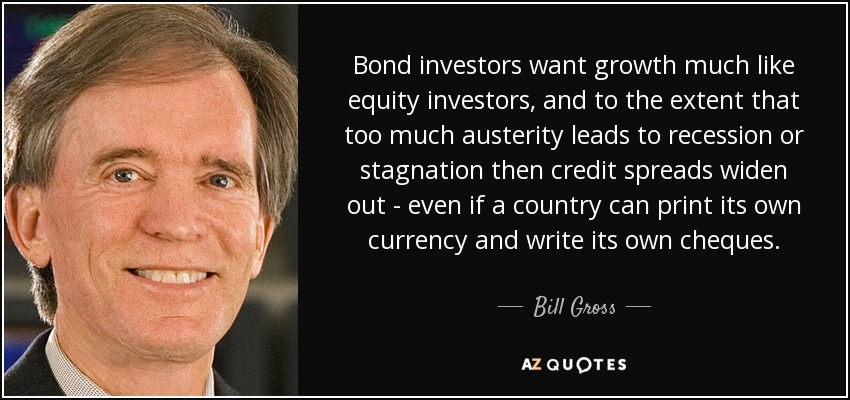 Bond investors want growth much like equity investors, and to the extent that too much austerity leads to recession or stagnation then credit spreads widen out - even if a country can print its own currency and write its own cheques. - Bill Gross
