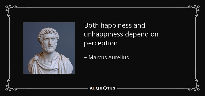 Both happiness and unhappiness depend on perception - Marcus Aurelius