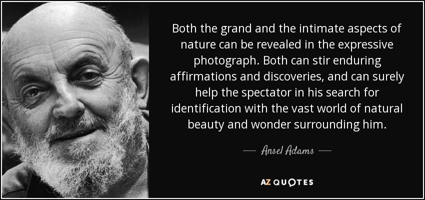 Both the grand and the intimate aspects of nature can be revealed in the expressive photograph. Both can stir enduring affirmations and discoveries, and can surely help the spectator in his search for identification with the vast world of natural beauty and wonder surrounding him. - Ansel Adams