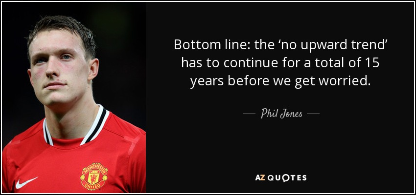 Bottom line: the 'no upward trend' has to continue for a total of 15 years before we get worried. - Phil Jones