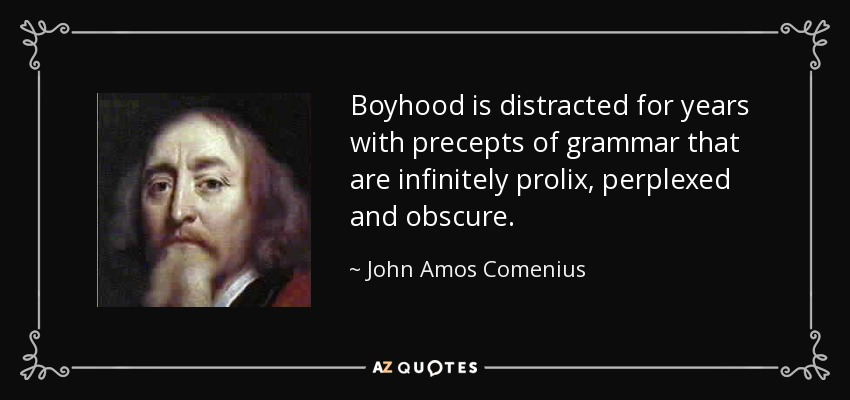 Boyhood is distracted for years with precepts of grammar that are infinitely prolix, perplexed and obscure. - John Amos Comenius