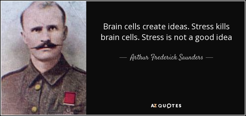 Brain cells create ideas. Stress kills brain cells. Stress is not a good idea - Arthur Frederick Saunders