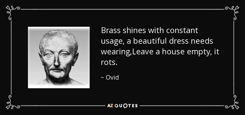 Brass shines with constant usage, a beautiful dress needs wearing,Leave a house empty, it rots. - Ovid