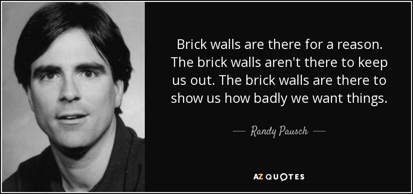 Brick walls are there for a reason. The brick walls aren't there to keep us out. The brick walls are there to show us how badly we want things. - Randy Pausch