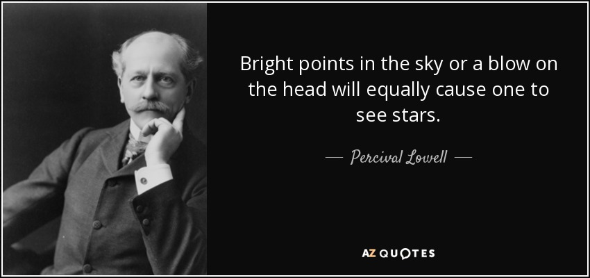 Bright points in the sky or a blow on the head will equally cause one to see stars. - Percival Lowell