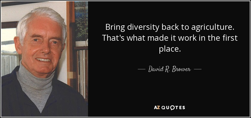 Bring diversity back to agriculture. That's what made it work in the first place. - David R. Brower