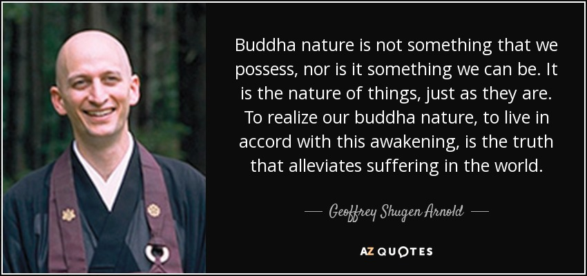 Buddha nature is not something that we possess, nor is it something we can be. It is the nature of things, just as they are. To realize our buddha nature, to live in accord with this awakening, is the truth that alleviates suffering in the world. - Geoffrey Shugen Arnold