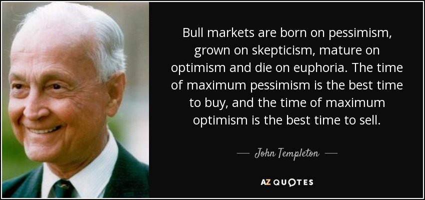 Image result for bull market born in pessimism templeton photo