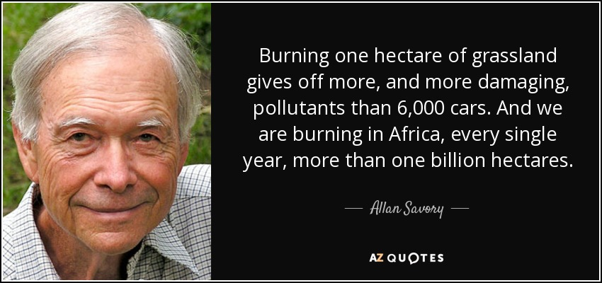 Burning one hectare of grassland gives off more, and more damaging, pollutants than 6,000 cars. And we are burning in Africa, every single year, more than one billion hectares. - Allan Savory