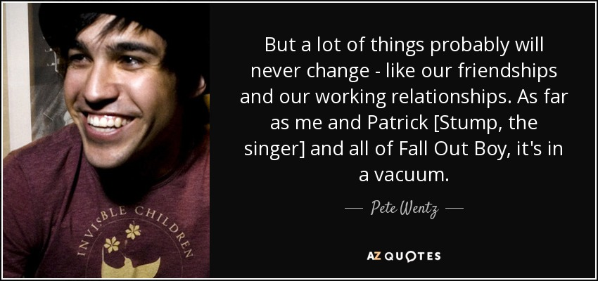 Pete Wentz quote: But a lot of things probably will never ...
