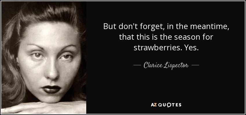 But don't forget, in the meantime, that this is the season for strawberries. Yes. - Clarice Lispector