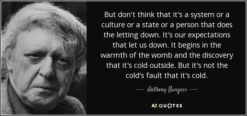 But don't think that it's a system or a culture or a state or a person that does the letting down. It's our expectations that let us down. It begins in the warmth of the womb and the discovery that it's cold outside. But it's not the cold's fault that it's cold. - Anthony Burgess
