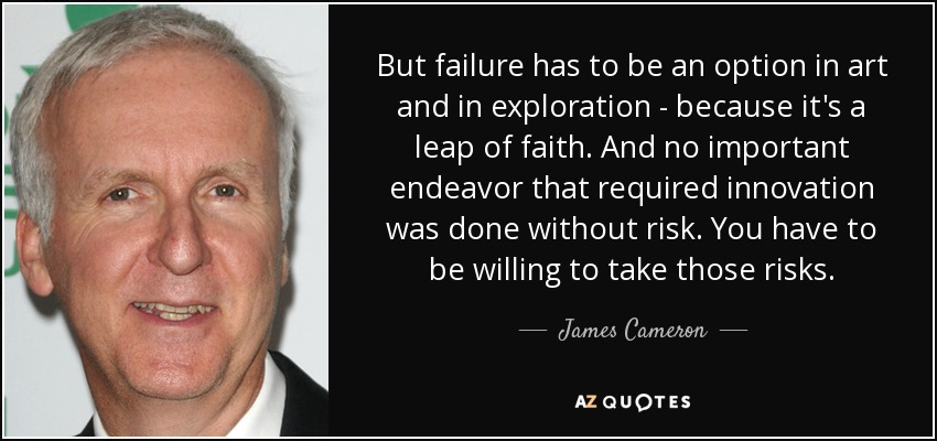 But failure has to be an option in art and in exploration - because it's a leap of faith. And no important endeavor that required innovation was done without risk. You have to be willing to take those risks. - James Cameron