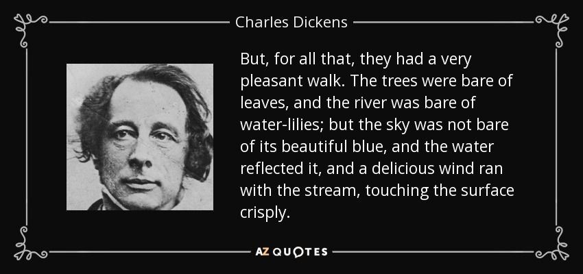 But, for all that, they had a very pleasant walk. The trees were bare of leaves, and the river was bare of water-lilies; but the sky was not bare of its beautiful blue, and the water reflected it, and a delicious wind ran with the stream, touching the surface crisply. - Charles Dickens