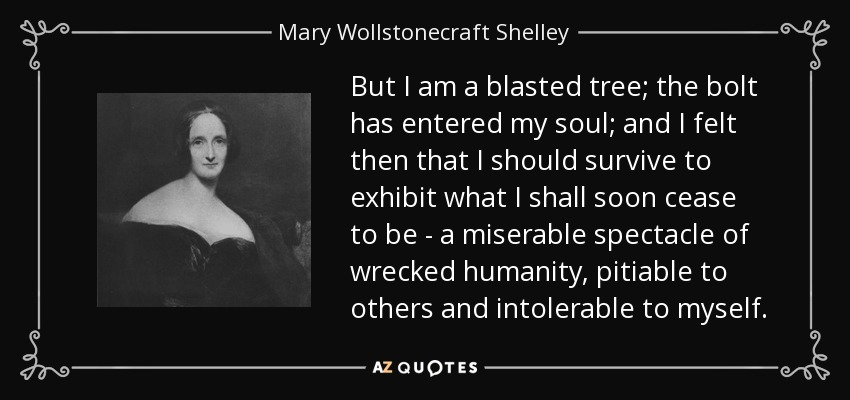 But I am a blasted tree; the bolt has entered my soul; and I felt then that I should survive to exhibit what I shall soon cease to be - a miserable spectacle of wrecked humanity, pitiable to others and intolerable to myself. - Mary Wollstonecraft Shelley