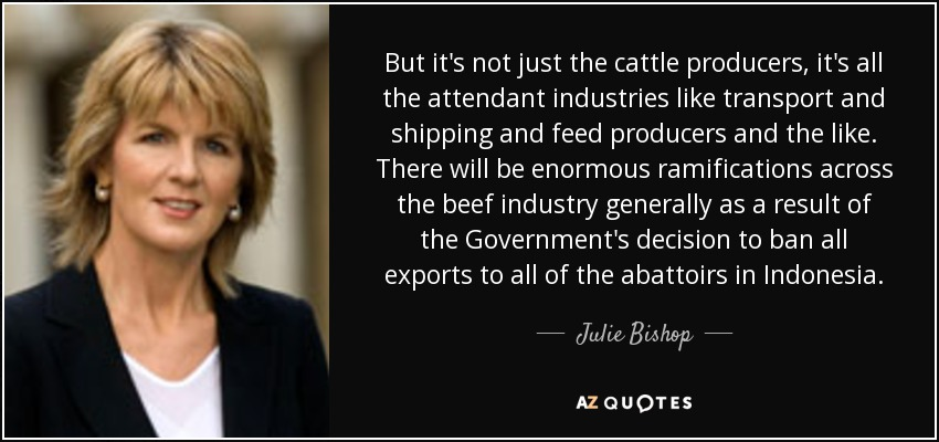But it's not just the cattle producers, it's all the attendant industries like transport and shipping and feed producers and the like. There will be enormous ramifications across the beef industry generally as a result of the Government's decision to ban all exports to all of the abattoirs in Indonesia. - Julie Bishop