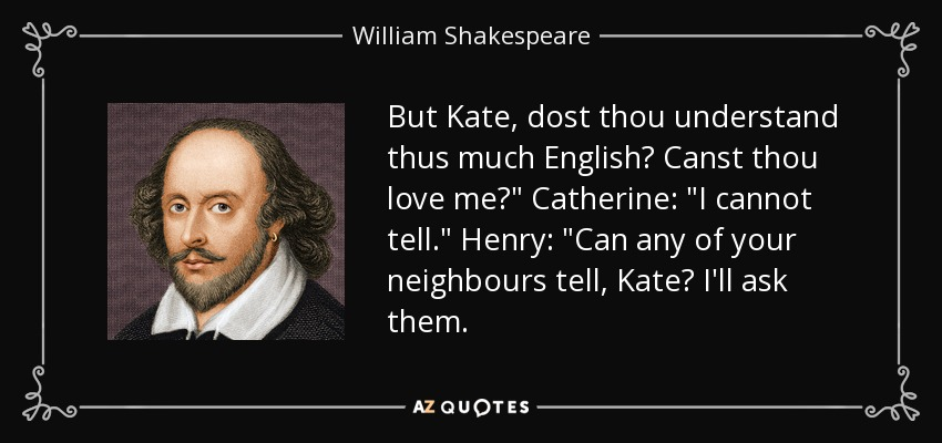 But Kate, dost thou understand thus much English? Canst thou love me?